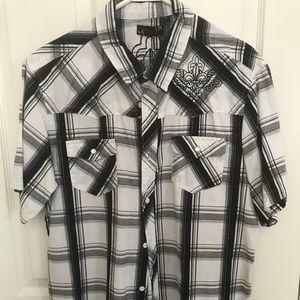 Helix Black and White Plaid Shirt XL
